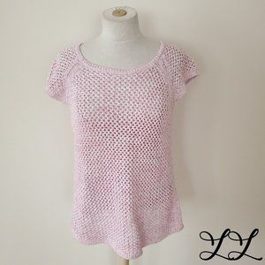 Talbots Top T Shirt Pink Cotton Lace Crochet Knit
